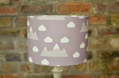 Purple Lampshade,  Scandi lampshade, Purple nursery decor, Clouds lampshade, Mountain nursery, Scandi nursery, Mountain lamp, Gender neutral by ShadowbrightDesigns on Etsy https://www.etsy.com/uk/listing/576411262/purple-lampshade-scandi-lampshade-purple