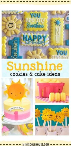 Looking for some delicious Sunshine Cake Recipes or Desserts? Delicious Sunshine Cookies, Sunshine Cakes and more! Throwing a You are my Sunshine Party? These sunshine cupcakes and other dessert ideas are absolutely perfect for a sweet You are my Sunshine themed party. From fun suns to bright yellows an rain clouds, we have all the inspiration you need to bake a beautiful party! #sunshine #desserts #cupcakes #cookies #cake #sunshinecupcakes #suncookies Sunshine Birthday Parties, 1st Birthday Party For Girls, Girl Birthday Themes, Summer Birthday, Birthday Ideas, 2nd Birthday, Yellow Birthday, Birthday Activities, Sunshine Cookies