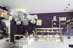 Pastry Shop - Cafe - Kubitscheck - Designliga. I love the purple & front of the counter.