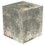 TB1481- Paris Antique Map Tissue Box Cover