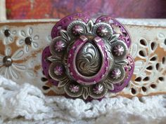 Antique SILVER HORSESHOE Concho PINK Patina by BellaNotteDesigns
