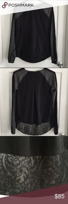 LULULEMON women's fleece top size 6 sweatshirt This is a fleece sweatshirt with herringbone pattern sleeves and a lace band at the bottom in the back. Super cute! Stretch throughout. Size 6. Great condition. lululemon athletica Tops Tees - Long Sleeve