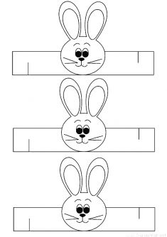 Rabbit wristband for use in preschool kindergarten activities . Preschool Games, Montessori Activities, Preschool Kindergarten, Preschool Crafts, Easter Egg Crafts, Bunny Crafts, Cute Kids Crafts, Easter Backgrounds, Easter Coloring Pages