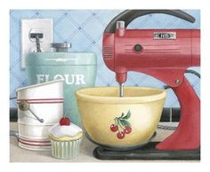Great old red mixer, love the cherry bowl.
