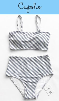 Live life on the beach with Cupshe~ Fresh simple high-waisted bikini set features chic inclined grey & white stripe print. Adjustable shoulder straps and removable padding bras give you comfortable feeling. Better service & Free shipping! Shop now~