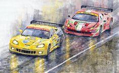 Yurly Shevchuk   WATERCOLOR          Le Mans 2011 Gte Pro Chevrolette Corvette C6r Vs Ferrari 458 Italia Painting