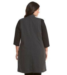 Ruff Hewn GREY Plus Size Houndstooth Plaid Maxi Blazer Vest