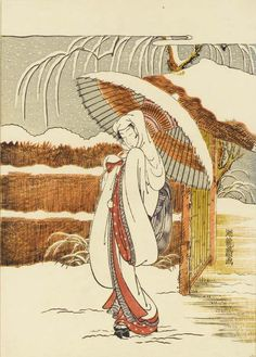 Beauty in Snow (act.1768-1788) by Isoda Koryusai