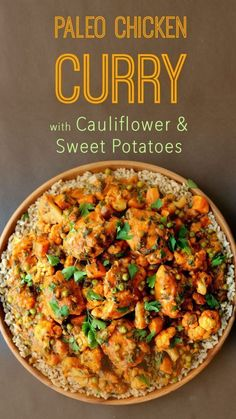 This delicious paleo chicken curry with cauliflower and sweet potatoes is one…