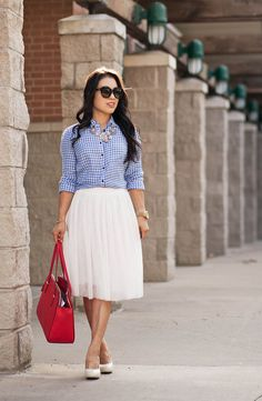 cute & little blog | petite fashion | gingham shirt, white tulle skirt, statement necklace, red tote by kileencheng, via Flickr