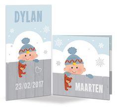 Vrolijke en kleurrijke geboortekaartjes en wenskaarten, in verschillende formaten.: De winter is weer in het land...