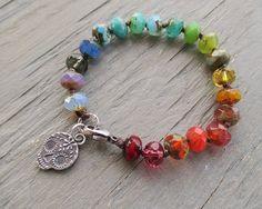 Sugar skull knotted bracelet - Colorful Memories - multi color rainbow ombre artisan skull spring summer boho by slashKnots