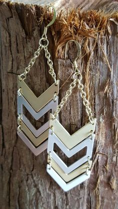Gold and Silver Chain Arrow/Chevron Dangle by FindingLifeDesigns