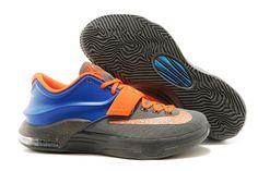 KD 7 Nike Zoom Kevin Durant Grey/Blue with Orange Sports Footwear for Men