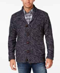 Finish your casual look in classic style with this lined cardigan from Weatherproof Vintage, featuring marled fabric that freshens a traditional design.   Acrylic; lining: polyester   Dry clean   Impo