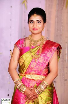 southindian bride wearing nakshi haram and necklace engagement  bridal makeover by magixspa.