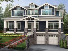 Eplans Craftsman House Plan - Perfect Home for Sloped View Lot - 3737 Square Feet and 5 Bedrooms(s) from Eplans - House Plan Code HWEPL55959