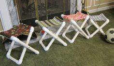 Camp Chair - cute. sew the fabric ahead of time and cut the pipe. Kids can put them together as a kit at camp.