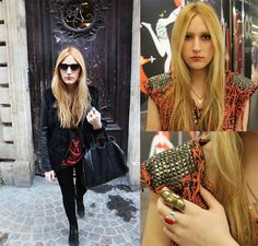 with the right bag and shoes, your rockstar jacket is a great accent for long tops/ way too short dresses and tights