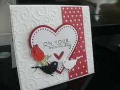 wedding card MFT Die-namics Fluttering Hearts MFT Die-namics Layered Heart Memory Box PERCHED REED BIRD Craft DIE