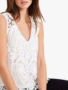Phase Eight Aleah Lace Blouse, White at John Lewis & Partners White Lace Blouse, Embroidered Lace Fabric, Phase Eight, Wide Leg Trousers, Lace Sleeves, Warm Weather, Personal Style, Elegant, John Lewis