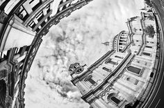 Fisheye Lens - St Paul's Cathedral : Black and White Photography-567
