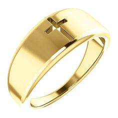 This unique yellow gold pierced cross ring for women from Apples of Gold Jewelry has an elegant feel and a sweet look you won't be able to help but love! Luxury Jewelry, Gold Jewelry, Women Jewelry, Ring Bracelet, Cuff Bracelets, Life Symbol, Stylish Mens Outfits, Christian Jewelry, Cross Designs