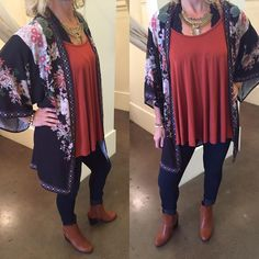 Floral kimono with rust top