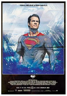 """Fan poster by artist John """"Houzer"""" Smith for the forthcoming flick Man of Steel (gotta love the 70s styling on this one)."""