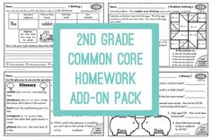 2nd Grade Common Core Homework Add-on Pack. This is designed to be used as review of the entire 2nd grade core. If you don't need homework, it would make great test review practice!