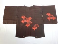 Japanese Vintage Kimono Haori Silk Dark Brown Flower P120275 | eBay