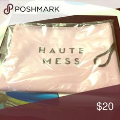 """Milly """"Haute Mess"""" zip pouch 🍸😜 Milly zip pouch with wrist strap purple with black lettering in original package Milly Bags Cosmetic Bags & Cases"""