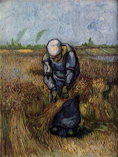 Peasant Woman Binding Sheaves (after Millet).  Van Gogh. September 1889. Saint-Rémy. Oil on canvas.  45 x 34 cm. Rijksmuseum Vincent van Gogh. Amsterdam.