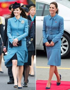 Kate Middleton's Best Fashion Repeats - Blue Alexander McQueen Coat - from InStyle.com