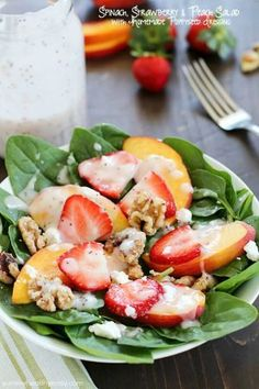 Spinach Salad with Strawberries, Peaches, Candied Walnuts, Goat Cheese & Poppyseed Dressing - Yummy Healthy Easy