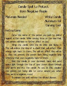 Candle Spell for Protection from Negative People- Pinned by The Mystic's Emporium on Etsy