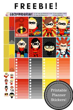 Uncommon Plans: FREEBIE: The Incredibles Printable Planner Stickers for the Classic Happy Planner! Arc Planner, Disney Planner, Planner Ideas, Printable Planner Stickers, Disney Printables, Free Printables, Happy Planner, 2 Movie, Free Stickers