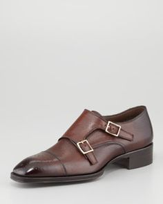 N26Q2 Tom Ford Gianni Double-Monk Strap Loafer, Brown