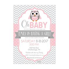 Set of 12 Customizable Personalized Baby Shower Invitations and Envelopes with Owl in Pink and Gray NV102 *** Click image for more details.  This link participates in Amazon Service LLC Associates Program, a program designed to let participant earn advertising fees by advertising and linking to Amazon.com.