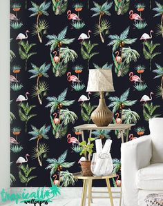 Flamingo Wallpaper Removable Wallpapers Floral by TropicWall