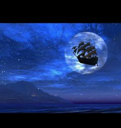 Peter Pan's ship flying over Neverland