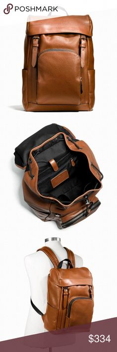 """Coach Henry Mens Backpack 100% Authentic Coach!  Buy with confidence!  • MSRP: $695.00 • Style: F72311  Features: • Pebble leather • Inside zip, cell phone and multifunction pockets • Inside laptop and iPad sleeve • Flap closure, fabric lining • Adjustable straps  • Outside zip and slip pockets • Outside zip access to interior • 16 1/2"""" (L) x 10"""" (H) x 6"""" (W)  Please feel free to ask any questions. Happy shopping! Coach Bags Backpacks"""