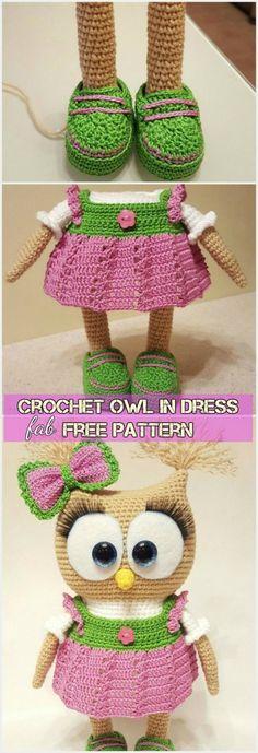 DIY Crochet Amigurumi Owl in Dress Free Pattern #crochet