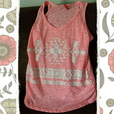 """Neon pink Aztec printed tank beautiful Aztec print Worn out look Thin material, very comfy and cool, great for summer! Hot neon pink in color Racerback Brand new, only took the tags off to dry clean ALL of my """"to be sold - posh clothes"""" on 7.5.14 Medium fits like a SMALL Tops Tank Tops"""