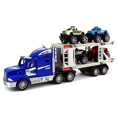 Velocity Toys Off Road Police Transporter Trailer 1:32 Friction Toy Truck