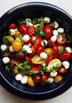 Slice some cherry tomatoes in half, cut up some fresh basil, toss in some low-fat fresh mozzarella, and dress lightly with olive oil and balsamic vinegar. Viola! You have yourself a beautiful cherry tomato caprese salad! Protein, vitamins, good fat, and very few carbs!  It's easier than you think to eat well.