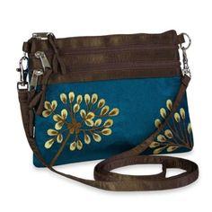 Amazon.com: Embroidered Dandelion 3 Zip Messenger (Peacock): Clothing