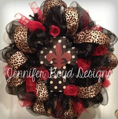 Beautiful Fleur de Lis Cross Deco Mesh by JenniferBoydDesigns, $85.00