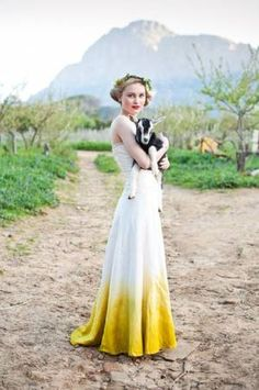 DIY ombre dipped wedding dress adds colour