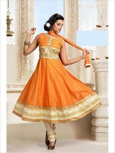 Orange Party Wear Art Silk Suit